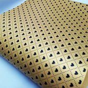 Papel Coração Ref 02 - Pérola Ouro com Preto - Tam. A4 - 180g/m²