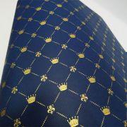 Papel Coroa - Azul Escuro com Dourado - Tam. A4 - 180g/m²