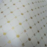 Papel Coroa - Pérola com Dourado - Tam. 30,5x30,5 - 180g/m²