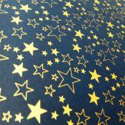 Papel Estrelas - Azul Escuro com Dourado - Tam. 32x65cm - 180g/m²
