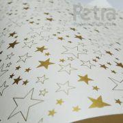 Papel Estrelas - Pérola com Dourado - Tam. A4 - 180g/m²