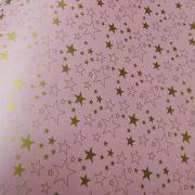 Papel Estrelas - Pérola Rosa Claro com Dourado - Tam. A4 - 180g/m²