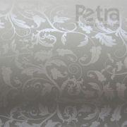 Papel Floral Ref 01 - Cinza com Prata - Tam. 32x65 cm - 180g/m²