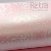 Papel Floral Ref 01 -  Pérola Rosa Claro com Branco - Tam. A4 - 180g/m²