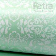 Papel Floral Ref 01 - Pérola Verde com Branco - Tam. 47x65cm - 180g/m²
