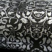 Papel Floral Ref 01 - Preto com Prata - Tam. 47x65cm - 180g/m²