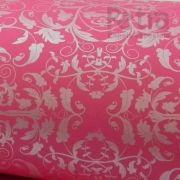 Papel Floral Ref 01 - Rosa Pink com Prata - Tam. 30,5x30,5