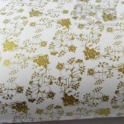 Papel Floral Ref 02 -  Branco com Dourado - Tam. 47x65cm - 180g/m²