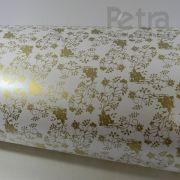 Papel Floral Ref 02 - Pérola com Dourado - Tam. 32x65cm - 180g/m²