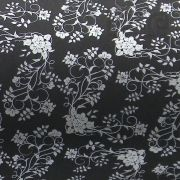 Papel Floral Ref 02 - Preto com Prata - Tam. A4 - 180g/m²