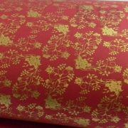 Papel Floral Ref 02 -  Vermelho com Dourado - Tam. 47x65cm - 180g/m²