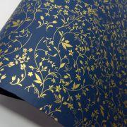 Papel Floral Ref 03 - Azul Escuro com Dourado - Tam. 30,5x30,5 - 180g/m²