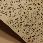 Papel Floral Ref 03 - Kraft com Preto - Tam. 32x65cm - 180g/m²