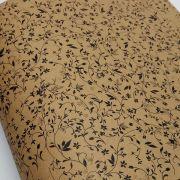 Papel Floral Ref 03 - Kraft com Preto - Tam. 47x65cm - 180g/m²