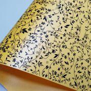 Papel Floral Ref 03 - Pérola Amarelo com Preto - Tam. 32x65cm - 180g/m²