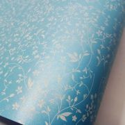 Papel Floral Ref 03 - Pérola Azul Claro com Branco - Tam. A3 - 180g/m²