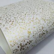 Papel Floral Ref 03 - Pérola com Dourado - Tam. A3 - 180g/m²