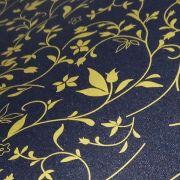 Papel Floral Ref 03 - Pérola Negra com Dourado - Tam. 32x65cm - 180g/m²