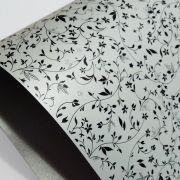 Papel Floral Ref 03 - Pérola Prata com Preto - Tam. A3 - 180g/m²
