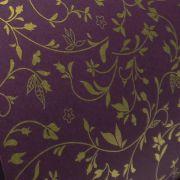 Papel Floral Ref 03 - Roxo com Dourado - Tam. 32x65cm - 180g/m²