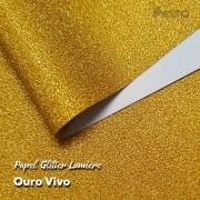 Papel Glitter Ouro Vivo 150g - 30,5x30,5cm com 6 folhas
