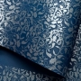 Papel Floral Ref 01 - Azul escuro com prata - Tam. A4 - 180g/m²