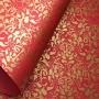 Papel Floral Ref 01 - Vermelho com Dourado - Tam. A3 - 180g/m²