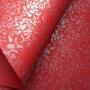 Papel Floral Ref 01 - Vermelho escuro com prata - Tam. 30,5x30,5 - 180g/m²