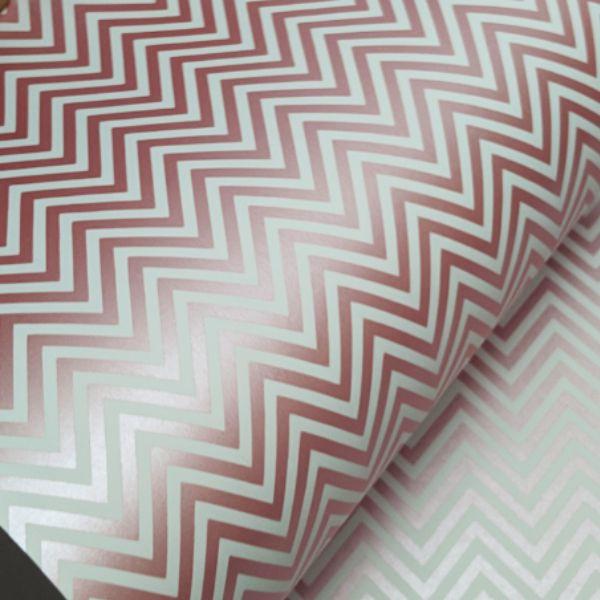 Papel Chevron - Branco com rosa perola - Tam. 30,5x30,5 - 180g/m²