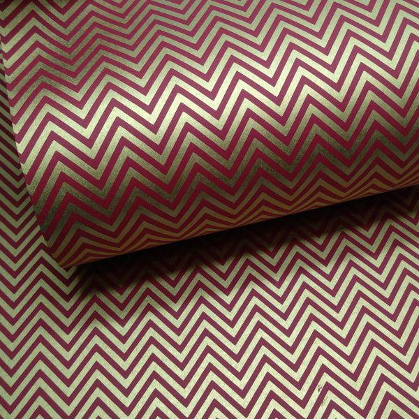 Papel Chevron - vermelho com dourado - Tam. 32x65cm - 180g/m²