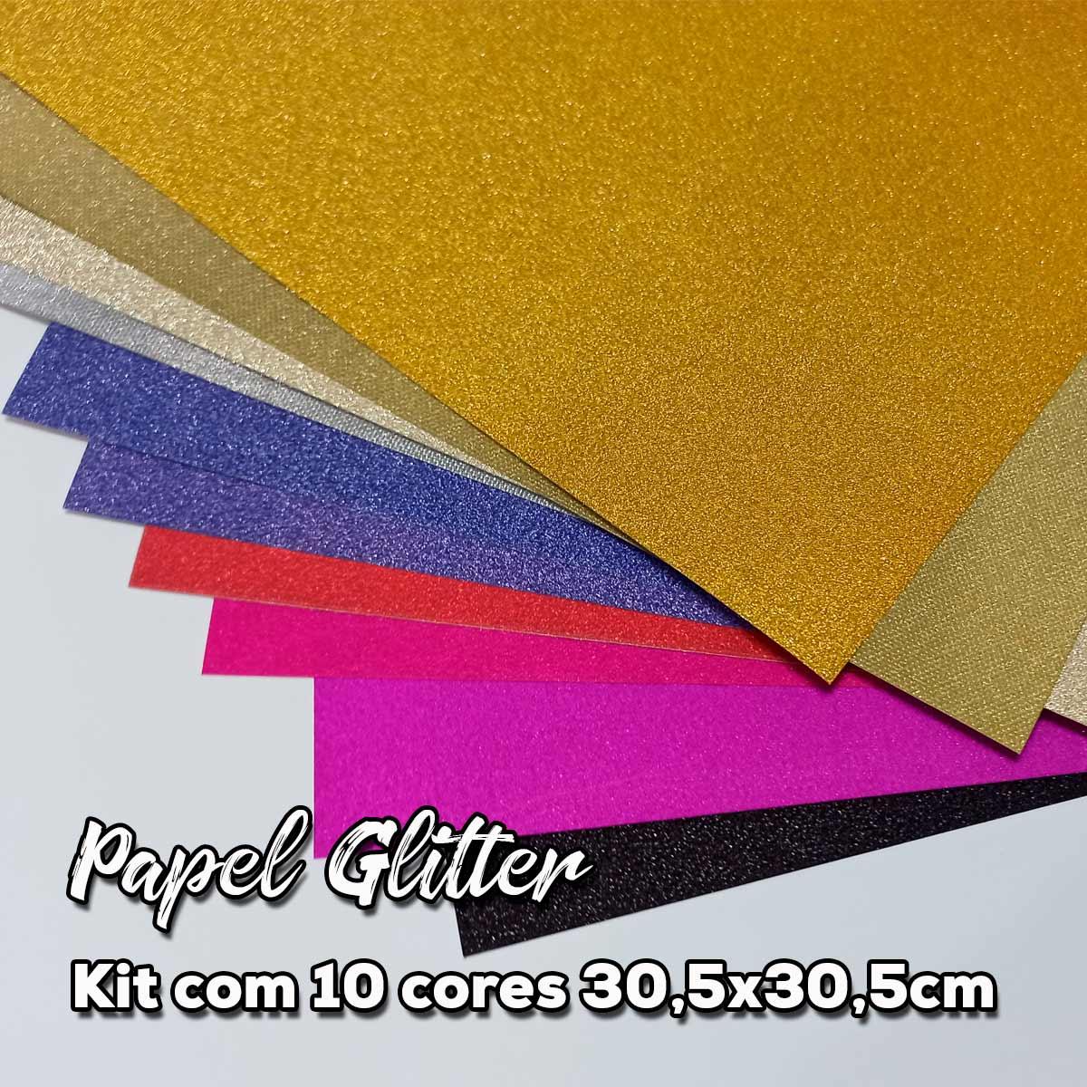 Kit de Papéis Glitter com 10 Cores - 30,5x30,5cm