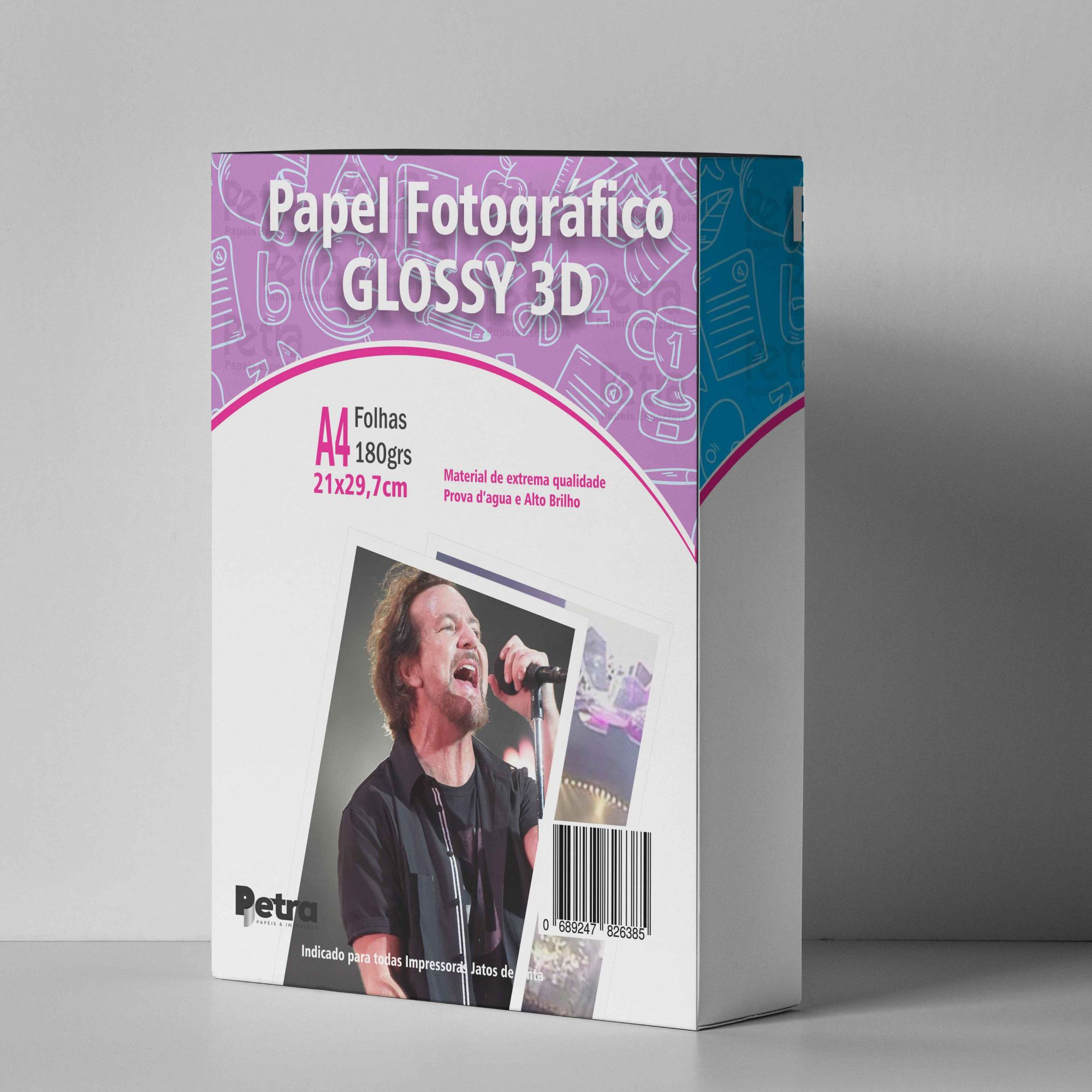 Papel 3D Holográfico Glossy Pontilhado A4 180g - 20 Folhas