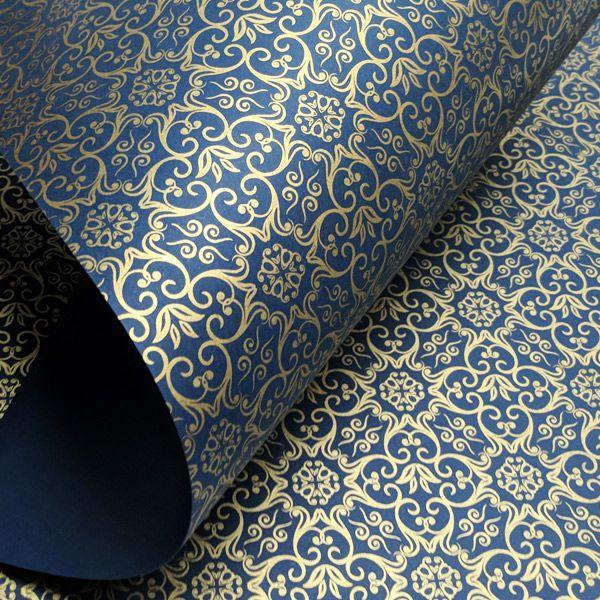 Papel Adamascado - Azul com Dourado - Tam. 30,5x30,5 - 180g/m²