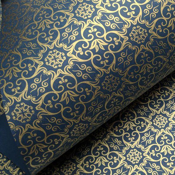 Papel Adamascado - Azul com Dourado - Tam. A4 - 180g/m²