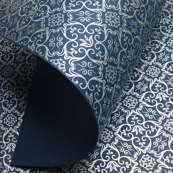 Papel Adamascado - Azul Escuro com Prata - Tam. 32x65cm - 180g/m²