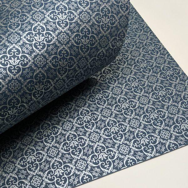 Papel Adamascado - Azul Escuro com Prata - Tam. 47x65cm - 180g/m²
