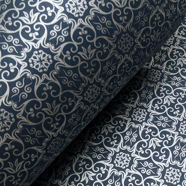 Papel Adamascado - Azul Escuro com Prata - Tam. A4 - 180g/m²