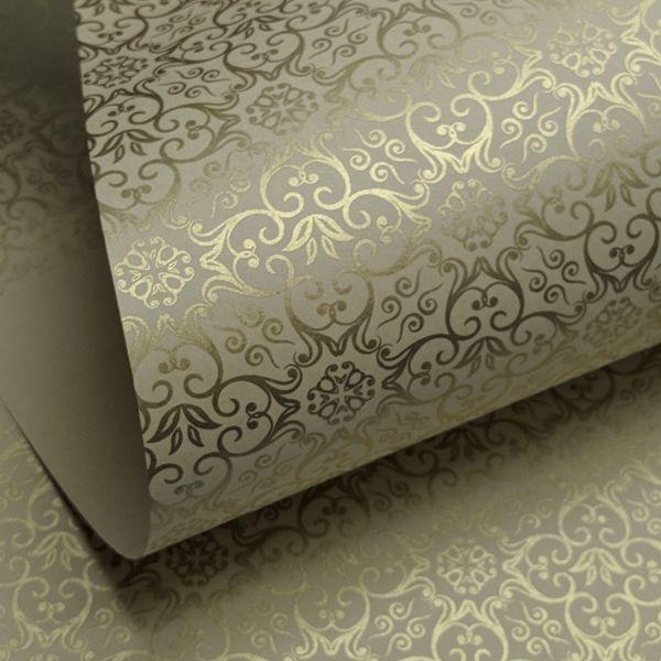 Papel Adamascado - Bege com Dourado - Tam. 30,5x30,5 - 180g/m²