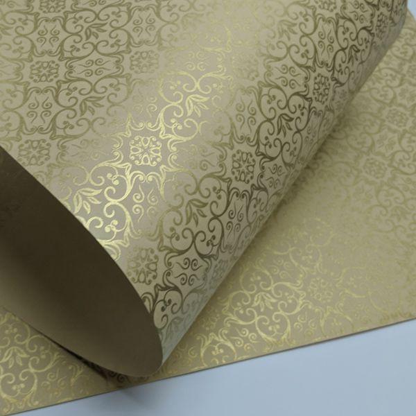 Papel Adamascado - Bege com Dourado - Tam. A3 - 180g/m²