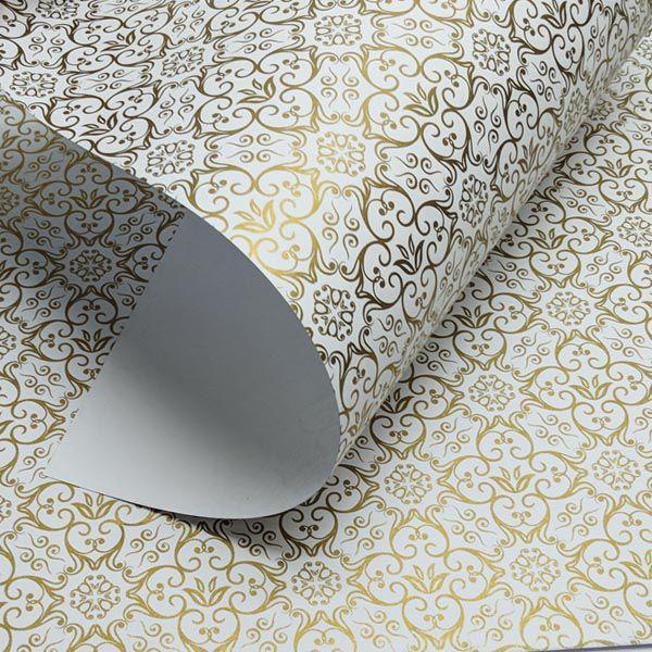 Papel Adamascado - Branco com Dourado - Tam. 30,5x30,5 - 180g/m²