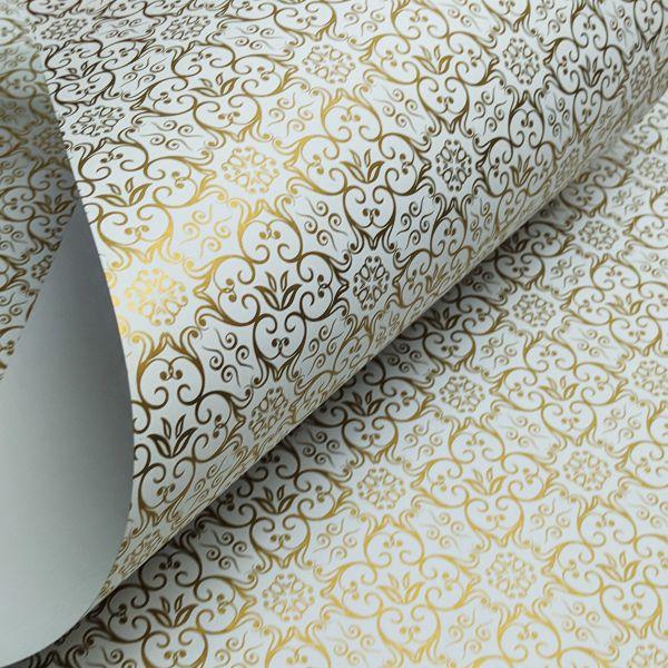 Papel Adamascado - Branco com Dourado - Tam. 32x65cm - 180g/m²