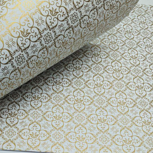 Papel Adamascado - Branco com Dourado - Tam. 47x65cm - 180g/m²
