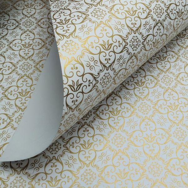 Papel Adamascado - Branco com Dourado - Tam. A3 - 180g/m²