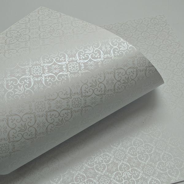 Papel Adamascado - Branco com Pérola - Tam. 30,5x30,5 - 180g/m²