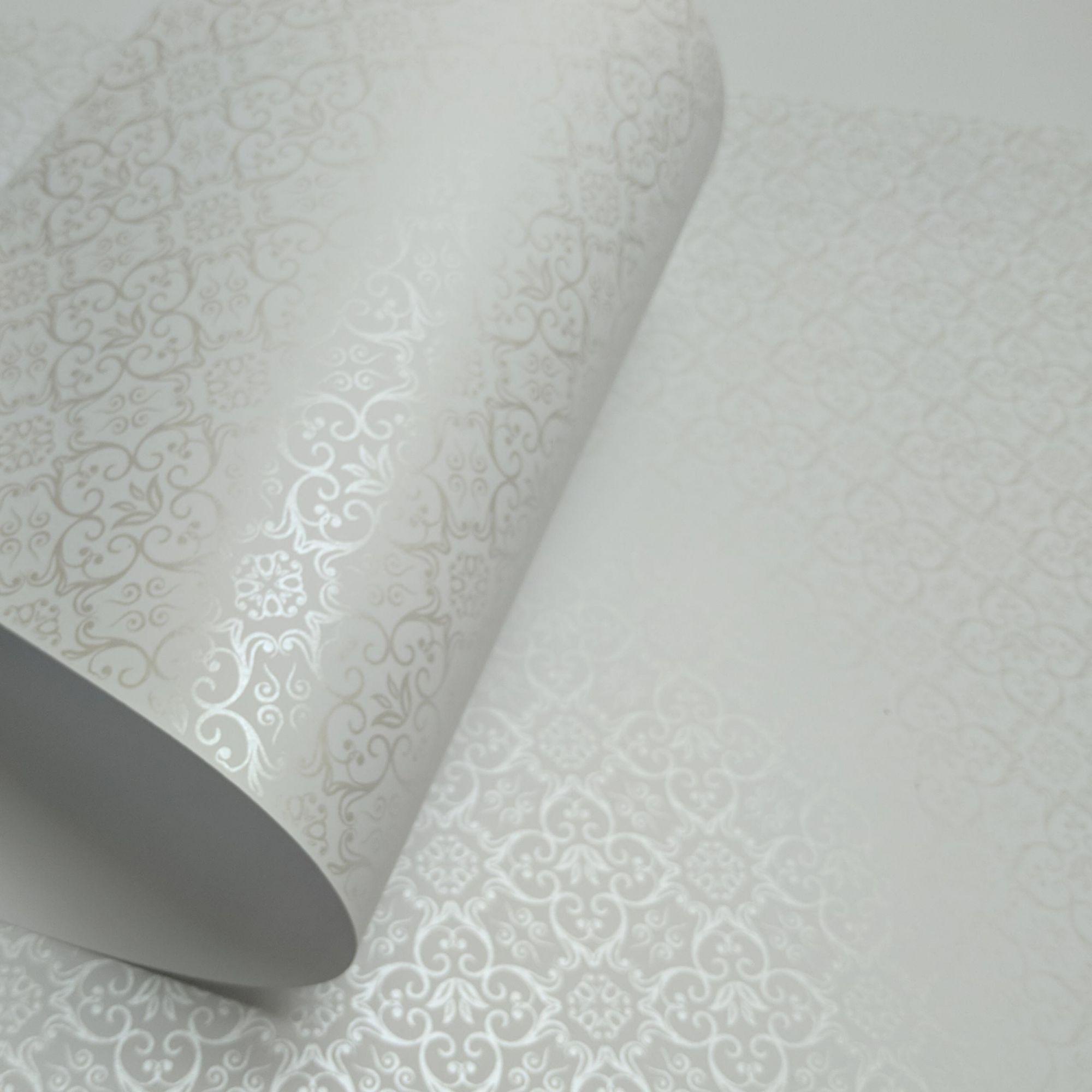 Papel Adamascado - Branco com Pérola - Tam. 32x65cm - 180g/m²