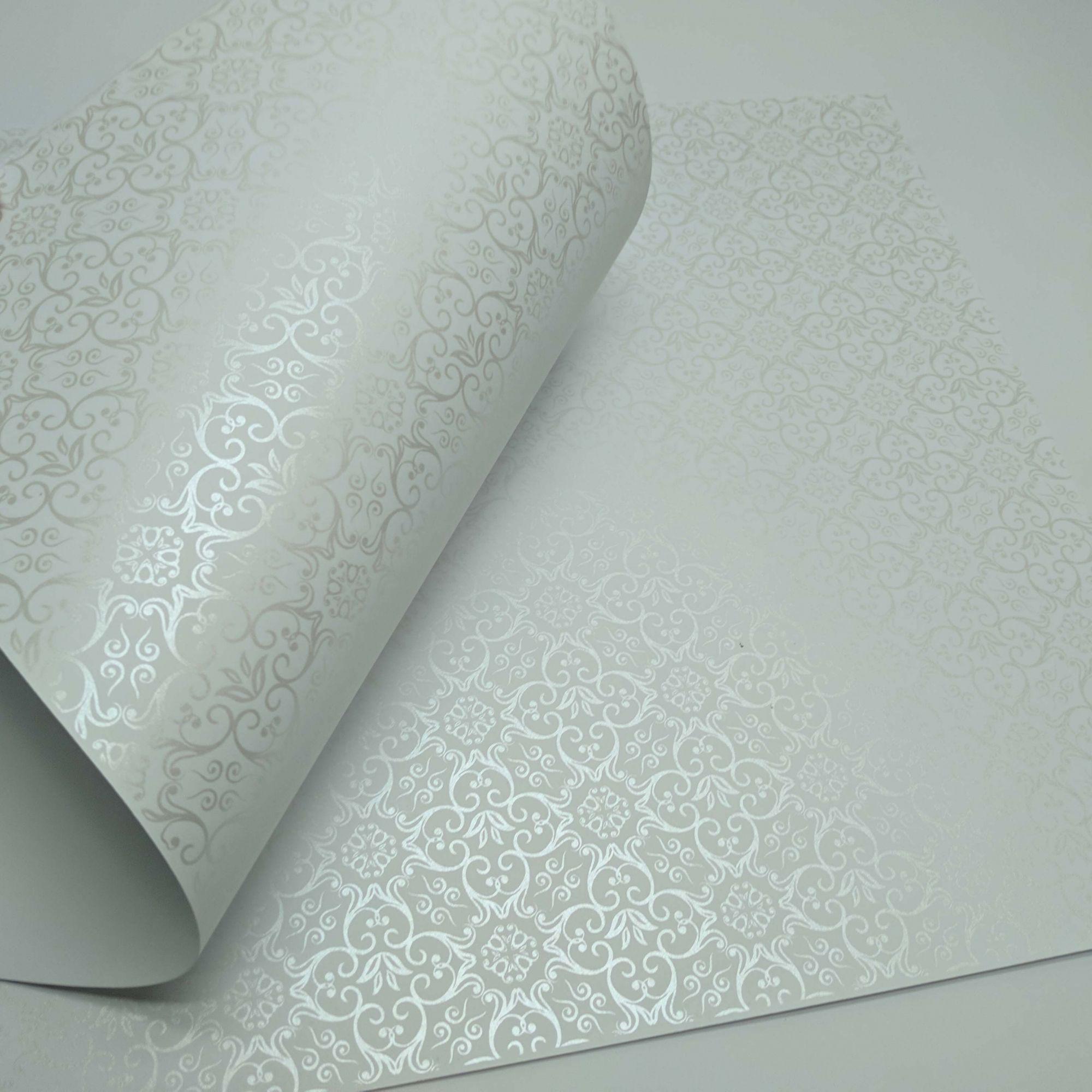 Papel Adamascado - Branco com Pérola - Tam. 47x65cm - 180g/m²