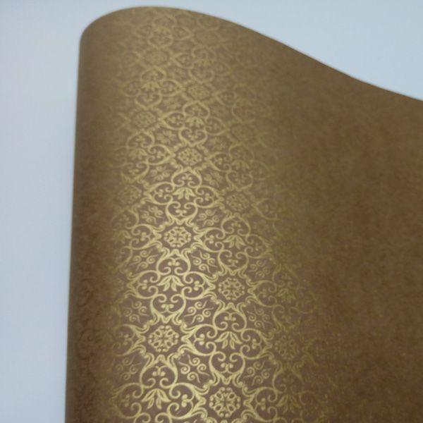 Papel Adamascado - Kraft com Ouro - Tam. A4 - 180g/m²