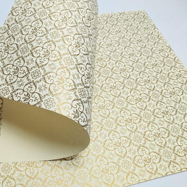 Papel Adamascado - Marfim com Dourado - Tam. 30,5x30,5 - 180g/m²