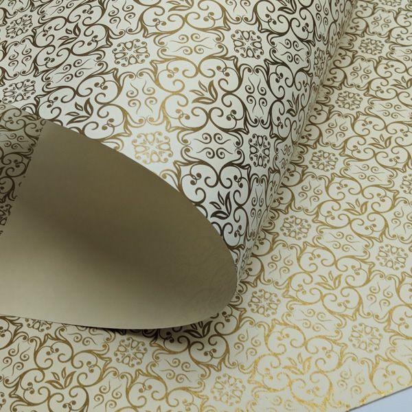 Papel Adamascado - Marfim com Dourado - Tam. 47x65cm - 180g/m²
