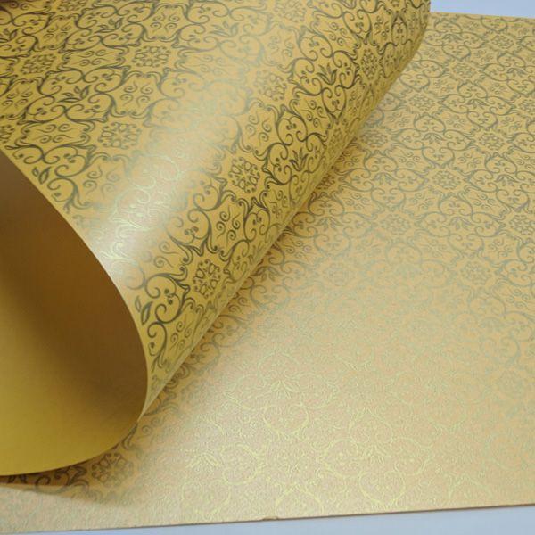 Papel Adamascado - Pérola Amarelo com Dourado - Tam. 30,5x30,5 - 180g/m²